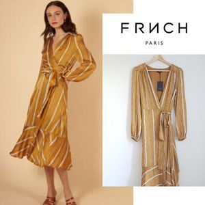 FRNCH ANE Striped Long Sleeve Belted Dress XS-S